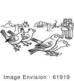 #61919 Clipart Of Children Watching Birds In A Park In Black And White - Royalty Free Vector Illustration