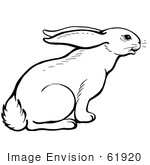 #61920 Clipart Of A Curious Rabbit - Royalty Free Vector Illustration