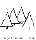 #61924 Clipart Of Evergreen Trees In Black And White - Royalty Free Vector Illustration
