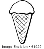 #61925 Clipart Of A Waffle Ice Cream Cone In Black And White - Royalty Free Vector Illustration