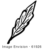 #61926 Clipart Of A Leaf In Black And White - Royalty Free Vector Illustration