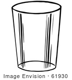 #61930 Clipart Of A Glass Cup In Black And White - Royalty Free Vector Illustration