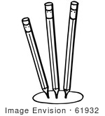 #61932 Clipart Of Three Pencils In A Circle In Black And White - Royalty Free Vector Illustration
