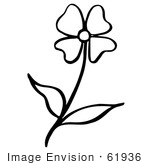 #61936 Clipart Of A Flower In Black And White - Royalty Free Vector Illustration