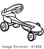#61938 Clipart Of A Retro Roller Skate In Black And White - Royalty Free Vector Illustration