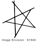 #61940 Clipart Of A Star Pentagram In Black And White - Royalty Free Vector Illustration
