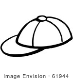 #61944 Clipart Of A Baseball Cap In Black And White - Royalty Free Vector Illustration