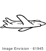 #61945 Clipart Of A Flying Airplane In Black And White - Royalty Free Vector Illustration