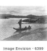 #6399 Indian Canoe With A Sail