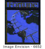 #6652 Telephone Lines And Globe On Cover Of Fortune Magazine