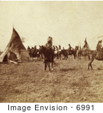 #6991 Stock Image Of A Pawnee Indian Camp