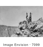 #7099 Stock Photography: 3 Crow Indians On Cliff