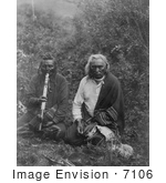 #7106 Stock Photography: Two Crow Indians Smoking