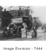 #7444 Stock Picture Of Confiscated Moonshine And Wrecked Car During Prohibition