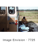 #7725 Picture Of Patient With Ebola-Like Symptoms Laying In The Back Of A Land Rover