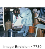 #7730 Picture Of Technician Discarding Blood Specimens Collected During The Ebola Outbreak In Zaire 1976