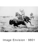 #9801 Picture Of Native American Hunting Bison