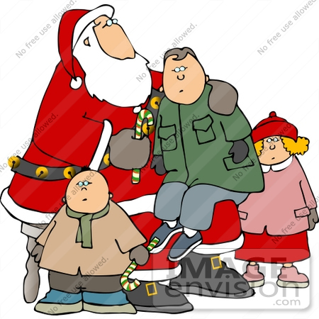 Kids and santa. Illustration of a boy and girl sitting on the lap of a man  dressed in a santa claus costume.