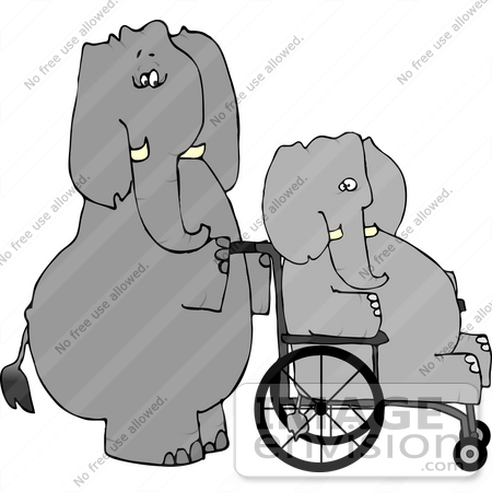 #12654 Elephant in a Wheelchair Being Pushed by Another Clipart by DJArt