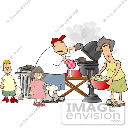 #13097 Caucasian Family Barbecuing at a Picnic Clipart by DJArt