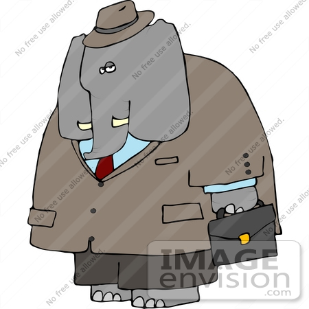 #13312 Elephant a Business Suit Clipart by DJArt
