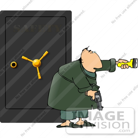 #13344 Man Standing In Front of a Safe With a Flashlight and Gun Clipart by DJArt