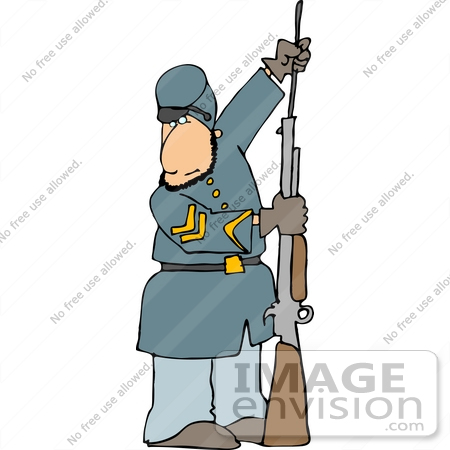 american civil war soldier preparing his rifle for battle clipart