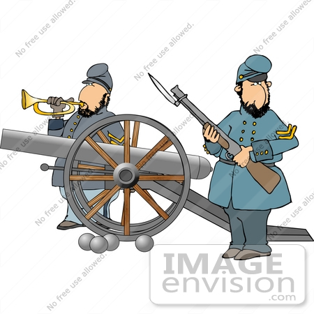 two civil war soldiers with a canon clipart | #14438djart