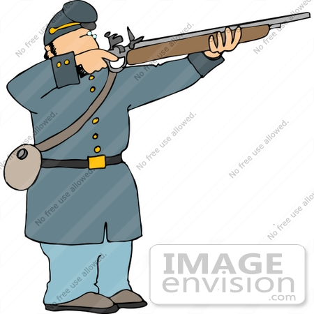 civil war soldier aiming and shooting his rifle clipart | #14450