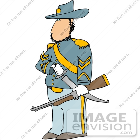 civil war calvary officer soldier with a sword and rifle clipart