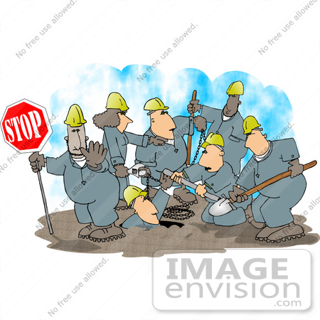 #14506 Group of Road Construction Workers Hard at Work on a Street Clipart by DJArt
