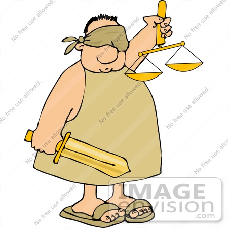 #14653 Injustice, Blindfolded Man Holding a Sword and Scales of Justice Clipart by DJArt