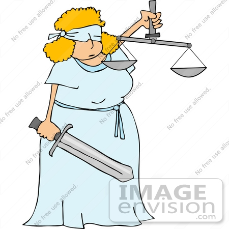 #14654 Lady Justice, Blindfolded Woman Holding a Sword and Scales Clipart by DJArt