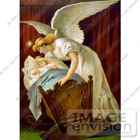 #16467 Picture of an Angel Rocking a Baby Cradle by JVPD