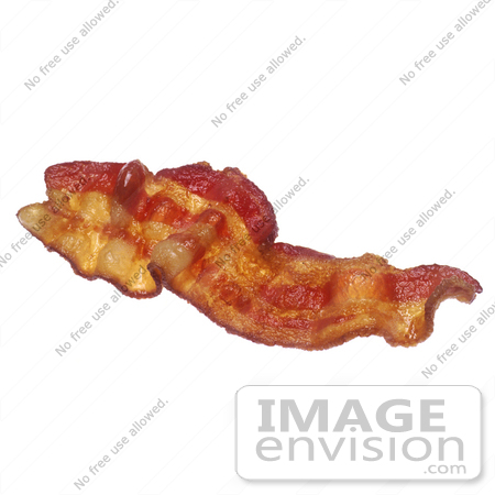 #16984 Picture of a Greasy, Long, Red Strip of Fried Streaky Bacon by JVPD