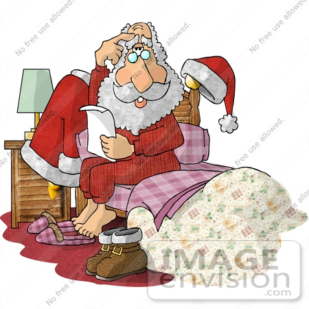 #17465 Santa in His PJs Sitting up in Bed Clipart by DJArt