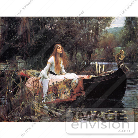 #17891 Picture of a Woman in a Boat on a Pond, The Lady of Shalott by John William Waterhouse by JVPD
