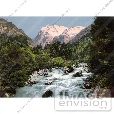 #18012 Picture of the River Lutschinen and Wetterhorn Mountain, Switzerland by JVPD
