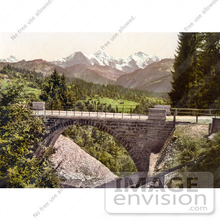 #18052 Picture of the Bridge at Saint Beatenberg With Mountains Eiger, Monch and Jungfrau, Switzerland by JVPD