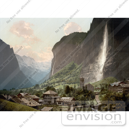 #18067 Picture of Jungfrau Mountain, Staubbach Waterfalls and Village of Lauterbrunnen, Switzerland by JVPD
