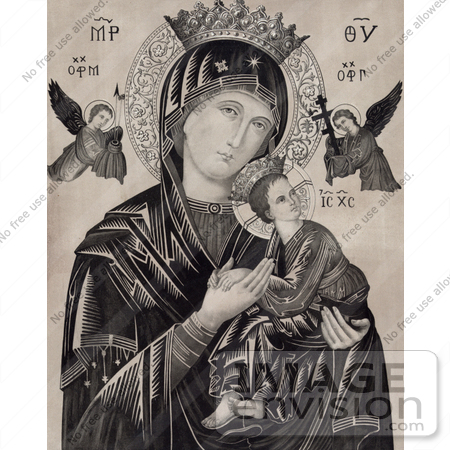 #18609 Photo of Virgin Mary Holding Jesus and Archangels Michael and Gabriel by JVPD
