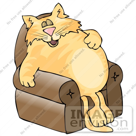 #19089 Fat Orange Cat Sleeping in a Lazy Chair Clipart by DJArt