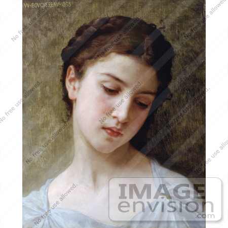 #19271 Photo of a Sad Young Woman, Head of a Young Girl, by William-Adolphe Bouguereau by JVPD