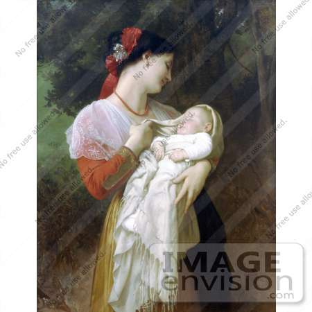 #19286 Photo of a Young Mother Holding Her Baby, Maternal Admiration by William-Adolphe Bouguereau by JVPD