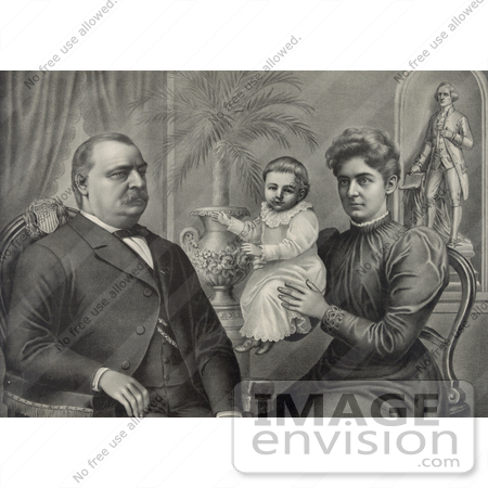 #20300 Historical Stock Photo of President Grover Cleveland, Wife and Daughter by JVPD