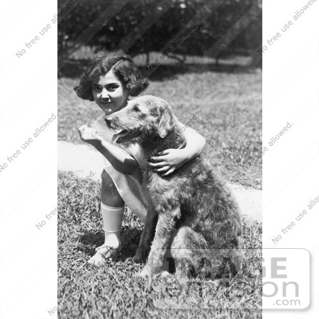 #20354 History Stock Photo of President Harding's Dog, Laddie Boy, and Child Actress Mariana Batista by JVPD