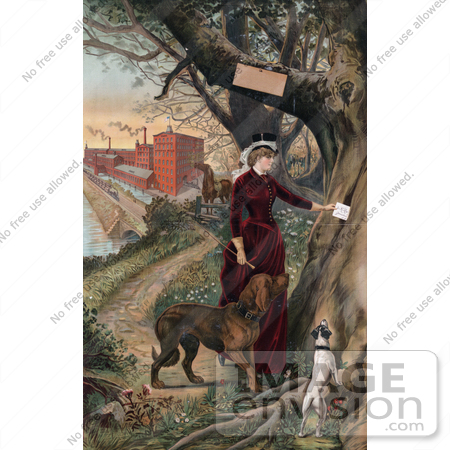 #20837 Stock Photography of a Woman in Horseback Riding Clothes, Putting a Note in a Tree, Her Dogs Beside Her and Horse and Mill in the Background by JVPD