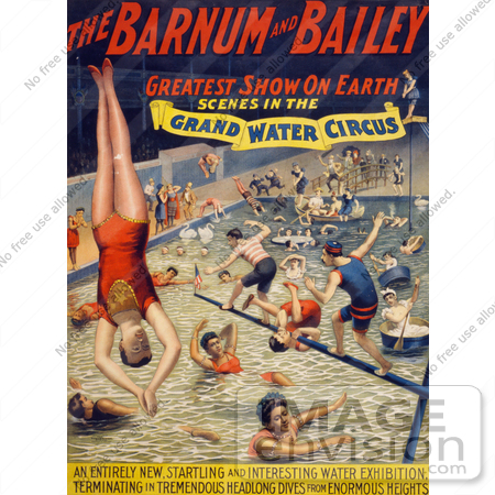 #21093 Stock Photography of Barnum and Bailey Grand Water Circus Showing Divers and Swimmers by JVPD