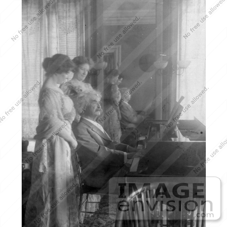 #21277 Stock Photography of Samuel Clemens/Mark Twain Playing a Piano For His Wife, Clara Clemens and Marie Nichols by JVPD