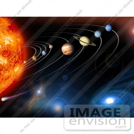 #21621 Stock Photography of The Solar System and Beyond With the Sun, Mercury, Venus, Earth, Mars, Jupiter, Saturn, Uranus, Neptune, Pluto and Galaxies by JVPD